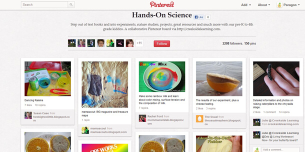 Collaborative Pinterest Board called Hands On Science