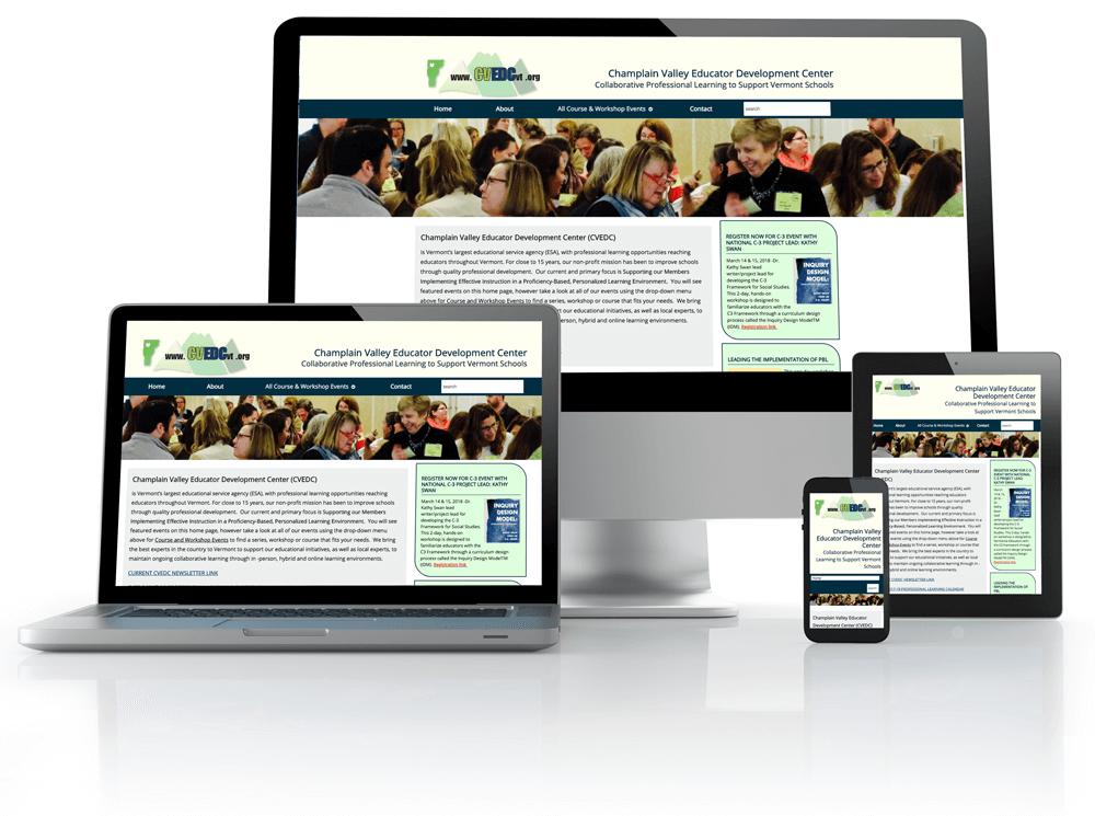 CVEDCVT.org website on phone, tablet and desktop
