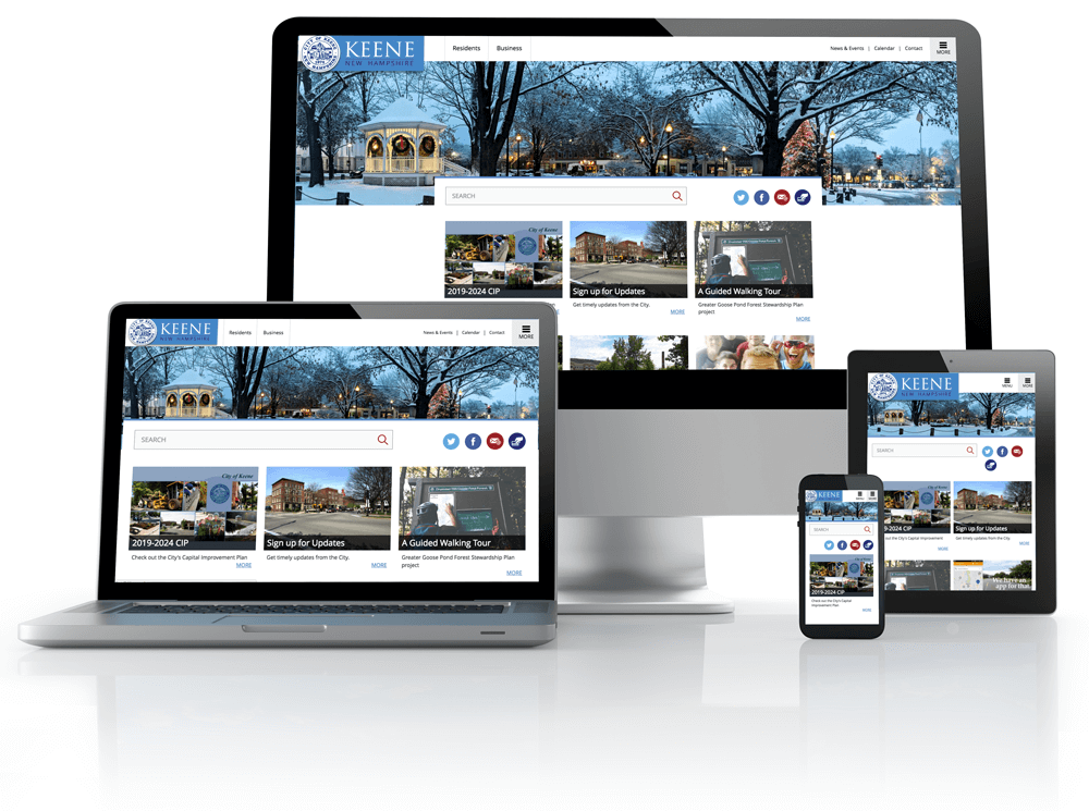 City of keene website on tablet, laptop and phones