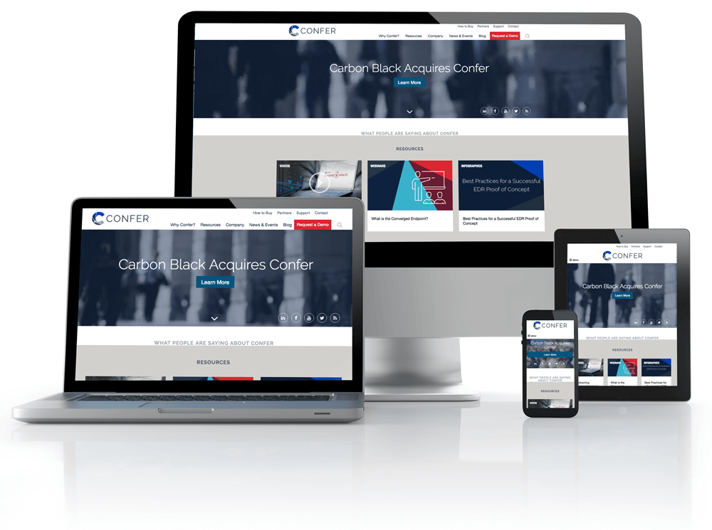 website on tablet, laptop and phones