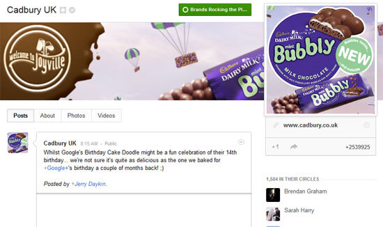 Most Popular Google+ Page is Cadbury UK
