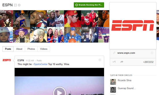The Most Engaging Brand on Google+ is ESPN