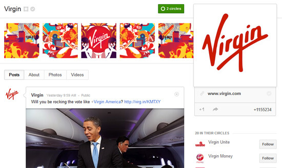 Virgin Has the Best Google+ Page Design