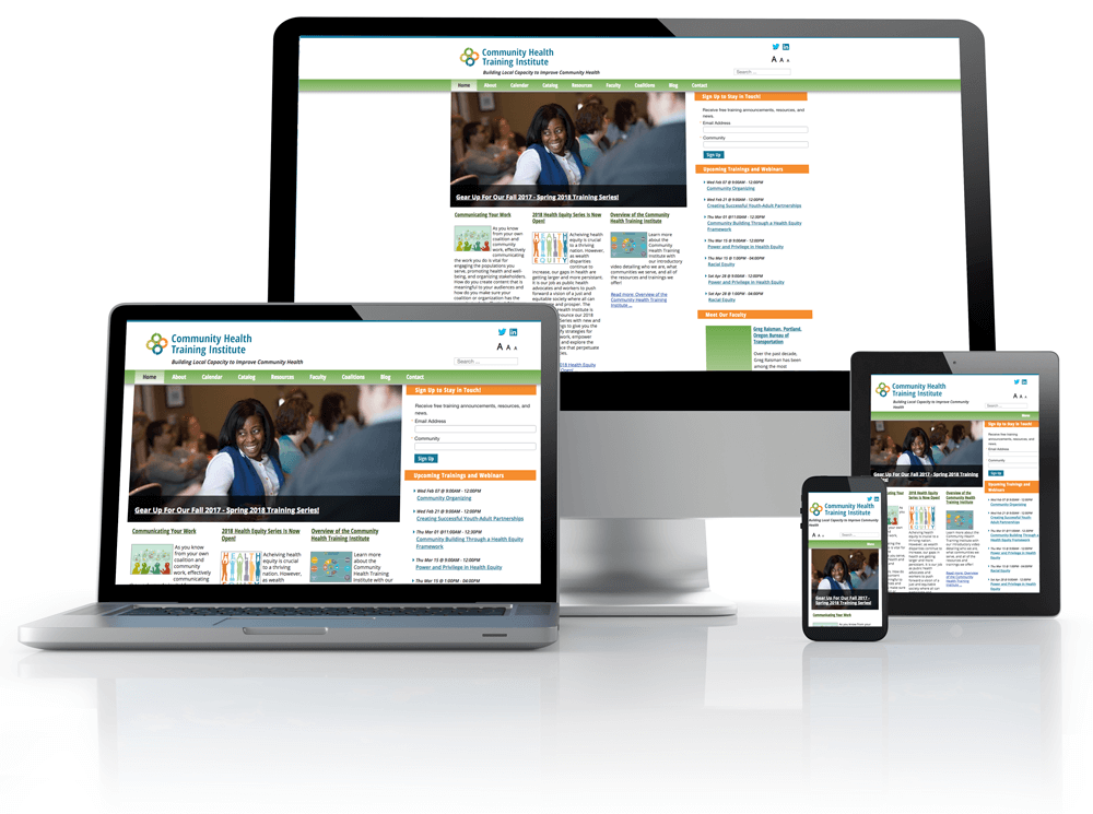 HRIA Institute website on phone, tablet and desktop