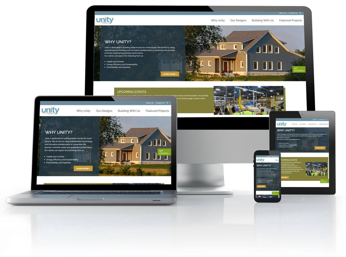 Unity Homes website shown on difference sized computer screens.