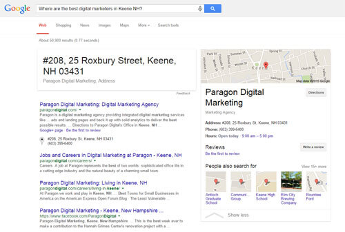 Where are the best digital marketers in Keene NH Google Search