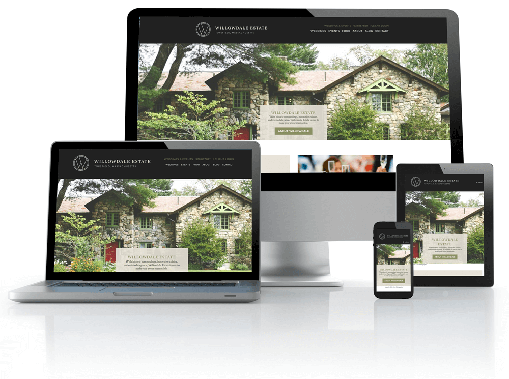 willowdale estate website on tablet, laptop and phones