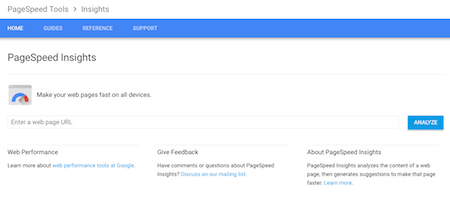 Google PageSpeed insights screenshot