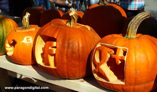 Facebook Pumpkin, Google+ Pumpkin & Twitter Logo Pumpkin